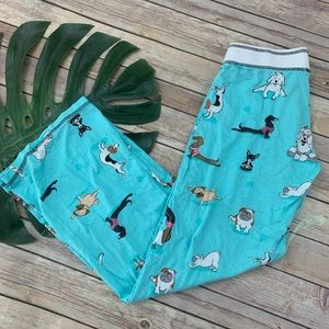 PJ Salvage blue dogs doing yoga print pajama pants